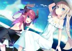 2girls :d ameshizuku_natsuki backless_dress backless_outfit bangs bare_shoulders black_dress blue_eyes blue_sky blush closed_mouth clouds cloudy_sky commentary_request curled_horns day dragon_horns dress elizabeth_bathory_(fate) elizabeth_bathory_(fate)_(all) eyebrows_visible_through_hair fang fate/extra fate/extra_ccc fate/grand_order fate_(series) flower hair_between_eyes hair_ornament hair_ribbon hat horizon horns leaning_forward light_brown_hair long_hair looking_at_viewer looking_to_the_side marie_antoinette_(fate/grand_order) marie_antoinette_(swimsuit_caster)_(fate) multiple_girls ocean off-shoulder_dress off_shoulder on_railing open_mouth outdoors pink_hair pleated_dress purple_ribbon railing ribbon seashell_hair_ornament short_dress sitting sitting_on_railing sky smile standing starfish_hair_ornament twintails two_side_up very_long_hair water white_dress white_flower white_hat