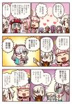 6+girls ahoge anastasia_(fate/grand_order) aunt_and_niece blue_cape blue_eyes blue_hair braid cape caster_lily circe_(fate/grand_order) closed_eyes comic dress euryale fate/grand_order fate_(series) feathered_wings hair_over_one_eye hat head_wings headdress heart highres long_hair marie_antoinette_(fate/grand_order) multiple_girls olga_marie_animusphere pink_hair pointy_ears ponytail purple_hair red_hat riyo_(lyomsnpmp) riyo_servant_(bunnygirl) royal_robe siblings side_braid silver_hair sisters speech_bubble stheno translation_request twintails very_long_hair white_dress white_hair wings yuri