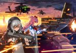 2girls absurdres aircraft bangs bow braid broken_window building clouds fingerless_gloves firing girls_frontline gloves gun hair_bow hair_ornament hair_ribbon hairclip helicopter hexagram highres hood hoodie imi_negev jacket kel-tec_ksg ksg_(girls_frontline) long_hair looking_to_the_side mk_(lazymk) multiple_girls negev_(girls_frontline) pink_hair red_bow red_eyes ribbon sandbag shield shotgun silver_hair sky smile star_of_david sunglasses under_fire weapon white_gloves window