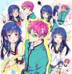 1boy 1girl blue_eyes blue_hair blush heart mery_(apfl0515) pink_eyes pink_hair saiki_kusuo saiki_kusuo_no_psi_nan school_uniform serafuku sunglasses teruhashi_kokomi