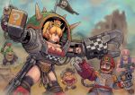 1girl 3boys abs armor axe blonde_hair bowser_jr. bowsette breasts commentary_request crown dynamite earrings exoskeleton facial_hair flag goomba horns imperium_of_man jewelry kensaint large_breasts mario mario_(series) mechanical_arm multiple_boys mustache new_super_mario_bros._u_deluxe nintendo open_mouth orkz pointy_ears ponytail red_eyes sharp_teeth spiked_tail spikes super_crown teeth toad warhammer_40k