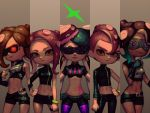 1boy 4girls agent_8 alternate_costume aori_(splatoon) artist_name bellhenge belt bike_shorts black_shorts breastplate breasts brown_eyes column_lineup commentary crop_top earrings english_commentary glowing glowing_eye goggles hand_on_hip hands_on_hips highleg highleg_panties inkling jewelry medium_hair midriff miniskirt mohawk mole mole_under_eye mole_under_mouth multiple_belts multiple_girls navel nintendo octarian octoling panties pantyhose pantyhose_under_shorts pink_panties pointy_ears purple_legwear short_hair shorts single_sleeve skirt small_breasts splatoon splatoon_2 standing stomach_tattoo sunglasses takozonesu tattoo toned underwear