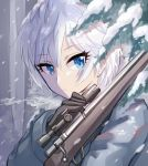 1girl amy30535 anastasia_(idolmaster) black_gloves blue_eyes eyebrows_visible_through_hair gloves grey_coat gun hair_between_eyes holding holding_gun holding_weapon idolmaster idolmaster_cinderella_girls looking_at_viewer outdoors rifle short_hair silver_hair sniper_rifle snow snowing solo upper_body weapon