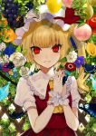 1girl absurdres anemone_(flower) apple bangs blonde_hair blue_flower bug butterfly commentary_request crystal daimaou_ruaeru eyebrows_visible_through_hair eyes_visible_through_hair flandre_scarlet flower food fruit grapes grin hands_up hat hat_ribbon highres insect komeiji_koishi lace-trimmed_collar lace_trim leaf lemon long_hair looking_at_viewer mob_cap nail_polish one_side_up orange own_hands_together parted_lips peach pear puffy_short_sleeves puffy_sleeves purple_flower red_eyes red_nails red_ribbon red_skirt red_vest ribbon rose shirt short_sleeves skirt skirt_set slit_pupils smile solo touhou upper_body vest white_flower white_hat white_rose white_shirt wings wrist_cuffs yellow_flower