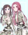 2girls :d alternate_hairstyle blue_eyes blue_ribbon brown_hair cowboy_shot dress gocoli hair_ribbon highres long_hair long_sleeves looking_at_viewer multiple_girls open_mouth pleated_dress red_eyes redhead ribbon ronye_arabel smile standing sword_art_online tiese_schtrinen very_long_hair