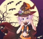 1girl absurdres alternate_costume bat black_cape blush cape claw_pose commentary crop_top d-pad eriksonix fangs flower food full_moon hair_between_eyes halloween halloween_costume hands_up hat hat_belt hat_flower hat_ribbon heart heart-shaped_pupils highres looking_at_viewer medium_hair midriff moon navel neptune_(choujigen_game_neptune) neptune_(series) outdoors pudding purple_flower ribbon signature skull solo suspenders symbol-shaped_pupils tree vampire witch witch_hat