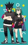 1boy 1girl animal_head asui_tsuyu bag bangs beak black_eyes black_footwear black_legwear black_pants black_shirt blue_bag blush_stickers boku_no_hero_academia capri_pants closed_mouth collarbone commentary cross-laced_footwear crossed_arms eye_contact eyelashes fashion frog_girl full_body green_hair hair_rings headphones headphones_around_neck highres long_hair long_shirt long_tongue looking_at_another low-tied_long_hair pants parted_bangs sanpaku shadow shirt shoes short_sleeves shoulder_bag sneakers standing symbol_commentary tokoyami_fumikage tongue tongue_out track_pants vic