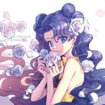 1girl bangs bare_arms bishoujo_senshi_sailor_moon black_hair blue_eyes choker crescent crescent_earrings earrings facial_mark flower forehead_mark hair_bun jewelry long_hair looking_at_viewer luna_(sailor_moon) luna_(sailor_moon)_(human) nezumipl parted_bangs petals rose smile solo twitter_username upper_body wavy_hair white_background white_flower white_rose yellow_neckwear