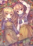 2girls :d autumn_leaves bangs black_footwear blonde_hair blue_scarf blush boots bow brown_dress brown_eyes brown_hair brown_legwear brown_skirt closed_mouth commentary_request day dress eyebrows_visible_through_hair fringe from_above green_legwear hair_between_eyes hair_bow hair_ribbon hakurei_reimu hand_holding interlocked_fingers kirisame_marisa long_hair long_sleeves lying multiple_girls on_back open_mouth outdoors pantyhose pjrmhm_coa pleated_skirt purple_shirt red_bow red_eyes red_ribbon ribbon scarf shirt skirt smile thigh-highs thigh_boots touhou turtleneck very_long_hair white_shirt