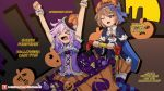 >_< 2girls :d ;o arms_up blanc blue_cape blue_eyes blue_jacket blush brown_hair cape capelet clenched_hands commentary d-pad d-pad_hair_ornament english food full_moon garter_straps hair_between_eyes hair_ornament halloween halloween_costume jacket long_sleeves looking_at_another medium_hair moon multiple_girls neptune_(choujigen_game_neptune) neptune_(series) one_eye_closed open_mouth orange_skirt outdoors patreon_username pumpkin_hat purple_corset purple_hair purple_shirt pushing riding shirt shopping_cart short_hair short_sleeves skirt smile striped striped_legwear sweets thigh-highs verniy_misaki wide_sleeves