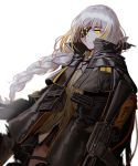 1girl assault_rifle bangs black_gloves blonde_hair braid cloak closed_mouth commentary corruption expressionless eyepatch floating_hair girls_frontline gloves gun highres holding holding_gun holding_weapon jacket long_hair looking_at_viewer m16 m16a1 m16a1_(girls_frontline) magazine_(weapon) mole mole_under_eye multicolored_hair rifle sangvis_ferri scar shirt sidelocks silence_girl solo spoilers streaked_hair weapon white_background white_hair wind yellow_eyes