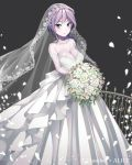 1girl absurdres anotherxalice bare_shoulders blue_earrings blue_eyes blush bouquet braid breasts bridal_gauntlets cleavage copyright_name dress earrings elbow_gloves fence flower gloves grey_background highres holding holding_bouquet jewelry large_breasts long_hair looking_at_viewer nyasunyadoora official_art petals pointy_ears purple_hair simple_background smile solo standing veil wedding_dress white_dress white_flower white_gloves