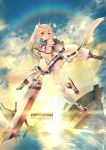 1girl ayanami_(azur_lane) azur_lane bandaid bare_shoulders breasts choker clouds cloudy_sky commentary_request detached_sleeves full_body headgear highres holding holding_sword holding_weapon long_hair looking_at_viewer machinery military military_vehicle navel orange_eyes parted_lips ponytail remodel_(azur_lane) school_uniform serafuku ship silver_hair sky small_breasts solo sword teddy_(khanshin) thigh-highs turret twilight under_boob warship watercraft weapon white_legwear wide_sleeves zettai_ryouiki