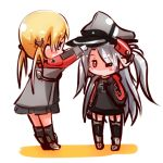 2girls adjusting_clothes adjusting_hat anchor_hair_ornament azur_lane blonde_hair blue_eyes chibi commentary_request crossover garter_straps hair_ornament hat kantai_collection long_hair multiple_girls namesake peaked_cap pleated_skirt prinz_eugen_(azur_lane) prinz_eugen_(kantai_collection) red_eyes silver_hair simple_background skirt twintails two_side_up white_background yagami_kamiya