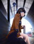 1girl 2018 bench black_cat black_hair blue_eyes blurry blush brown_jacket cat clock dated depth_of_field from_side ground_vehicle highres jacket long_sleeves number open_clothes open_jacket original parted_lips reito_(1755866) short_hair sitting star star_print suitcase train train_station