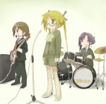 3girls alternate_costume alternate_hairstyle amplifier black_ribbon blonde_hair blue_eyes blue_neckwear blush brown_eyes brown_hair closed_eyes closed_mouth collared_shirt copyright_name drum drum_set drumsticks eyebrows_visible_through_hair facing_viewer glasses goshiki_agiri guitar hair_ribbon high_heels holding holding_drumsticks holding_instrument instrument kill_me_baby long_sleeves multiple_girls necktie okayparium open_mouth oribe_yasuna purple_hair ribbon shirt short_hair smile sonya_(kill_me_baby) standing twintails
