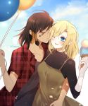 2girls :d absurdres artist_name atobesakunolove balloon blonde_hair blue_eyes brown_hair casual closed_eyes collarbone eye_of_horus facial_tattoo hair_tubes highres mercy_(overwatch) multiple_girls one_eye_closed open_mouth outdoors overwatch pharah_(overwatch) plaid plaid_shirt shirt side_braids smile tattoo yuri