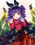 1girl akina_(akn_646) blush cape dragon_girl dragon_wings dress fire_emblem fire_emblem:_seima_no_kouseki fire_emblem_heroes halloween long_hair looking_at_viewer mamkute multi-tied_hair myrrh nintendo open_mouth purple_hair red_eyes short_hair simple_background smile solo twintails wings