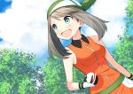 1girl :d bangs blue_eyes brown_hair clouds creatures_(company) day game_freak gloves green_bandana haruka_(pokemon) highres holding holding_poke_ball long_hair nintendo open_mouth outdoors parted_bangs poke_ball pokemon pokemon_(game) pokemon_rse premier_ball sleeveless smile solo twintails upper_body wristband yuihiko