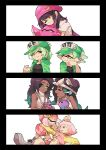 +_+ 6+girls ;) ;p akanbe aori_(splatoon) beanie black_hair cellphone commentary crown dual_persona english_commentary gradient_hair green_eyes green_hair hat headphones highres hime_(splatoon) hood hoodie hotaru_(splatoon) hug humanization iida_(splatoon) long_hair mole mole_under_eye mole_under_mouth multicolored_hair multiple_girls nintendo octarian one_eye_closed phone pink_hair purple_hair school_uniform serafuku shirt sleeveless sleeveless_turtleneck smartphone smile splatoon splatoon_2 splatoon_2:_octo_expansion squid t-shirt tentacle_hair thick_eyebrows tongue tongue_out turtleneck visor_cap wong_ying_chee yellow_eyes