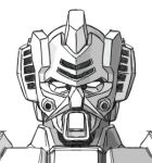 antennae camera_lens greyscale gundam lowres mecha mobile_suit_gundam monochrome no_humans parody portrait rx-78-2 upside-down vent_(object) vulcan white_background
