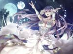 1girl breasts bridal_gauntlets center_opening cleavage dress finis_(lost_song) green_eyes jewelry kokutou leaf long_hair lost_song medium_breasts moon night night_sky open_mouth ring sky solo sparkle star_(sky) teeth tree very_long_hair white_hair