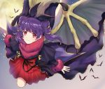 1girl blush cape dragon_girl dragon_wings dress fire_emblem fire_emblem:_seima_no_kouseki fire_emblem_heroes gloves halloween long_hair looking_at_viewer mamkute multi-tied_hair myrrh nintendo open_mouth purple_hair red_eyes short_hair simple_background smile solo twintails wings wspread