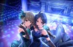 2girls artist_request bangs bare_shoulders blue_dress blue_hair bow bracelet breasts brown_eyes brown_hair cleavage collarbone dress earrings elbow_gloves emerald eyebrows_visible_through_hair feathers gloves green_dress green_eyes grin hair_bow hair_ornament hayami_kanade highres holding holding_microphone idol idolmaster idolmaster_cinderella_girls idolmaster_cinderella_girls_starlight_stage jewelry lace light_smile lights looking_at_viewer medium_breasts microphone multiple_girls mysterious_eyes_(idolmaster) official_art parted_bangs pretty_liar_(idolmaster) short_hair sleeveless sleeveless_dress smile stage takagaki_kaede tied_hair