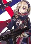 1girl armband bangs bird blonde_hair commentary_request echj eyebrows_visible_through_hair girls_frontline gloves gun hair_between_eyes headset highres holding holding_gun holding_weapon jacket long_sleeves looking_at_viewer name_tag open_mouth red_eyes red_scarf rifle scarf scw_(girls_frontline) scw_(gun) short_hair sketch smile solo trigger_discipline uniform weapon