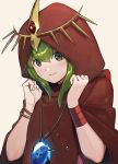 1girl bracelet chiki cloak closed_mouth fire_emblem fire_emblem:_monshou_no_nazo fire_emblem_heroes green_eyes green_hair hood hood_up jewelry kyufe mamkute nintendo simple_background smile solo stone tiara upper_body white_background wristband