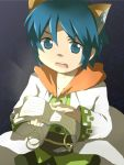 1boy animal_ears blue_eyes blue_hair book cat_ears commentary_request labcoat leon_geeste male_focus mikota_(showata) open_mouth pointy_ears short_hair solo star_ocean star_ocean_the_second_story
