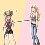 !? 2girls belt blonde_hair brown_hair cowboy_hat denim denim_shorts dog_tags hat holster jeans multicolored_hair multiple_girls neo_(rwby) pants pink_hair rope rope_gag rwby shorts smile tl yang_xiao_long