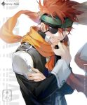 artist_name brown_hair character_name copyright_name d.gray-man ekita_xuan eyepatch green_eyes grin headband lavi looking_at_viewer male_focus orange_scarf scarf smile uniform upper_body