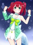 1girl absurdres awaken_the_power bangs blush bow breasts cleavage clenched_hand eyebrows_visible_through_hair gradient gradient_background green_eyes hair_ornament hands_up highres huge_filesize igarashi_kyouhei kurosawa_ruby looking_at_viewer love_live! love_live!_sunshine!! redhead sequins simple_background skirt smile solo standing teeth two_side_up