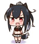 1girl :d animal_ears arms_at_sides azur_lane bangs black_shirt blush bow brown_footwear chibi commentary_request eyebrows_visible_through_hair fake_animal_ears fang full_body hair_between_eyes hana_kazari headgear long_hair midriff motion_lines multicolored_hair navel open_mouth pleated_skirt puffy_short_sleeves puffy_sleeves red_bow red_eyes sailor_collar school_uniform serafuku shigure_(azur_lane) shirt shoes short_sleeves sidelocks skirt smile socks solo standing streaked_hair tail very_long_hair white_background white_hair white_legwear white_sailor_collar white_skirt wolf_ears wolf_girl wolf_tail wristband