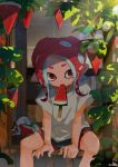 1girl agent_8 black_shorts cat food food_in_mouth grey_shirt highres hot kashu_(hizake) kojajji-kun_(splatoon) leaf lens_flare looking_at_viewer medium_hair monster_girl mouth_hold nintendo octarian octoling plant pointy_ears popsicle rainbow red_eyes redhead shade shirt short_eyebrows short_sleeves shorts signature sitting splatoon splatoon_2 splatoon_2:_octo_expansion suction_cups summer sunlight sweat tentacle_hair vines watermelon_bar wooden_floor