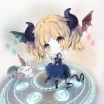 1girl bangs black_bow black_legwear black_ribbon blonde_hair blue_dress blush bow breasts brown_eyes brown_footwear brown_wings card character_request closed_mouth collared_shirt commentary_request cottontailtokki creature curled_horns demon_horns dragon_wings dress eyebrows_visible_through_hair feathered_wings green_wings head_tilt head_wings highres holding holding_card horns long_hair magic_circle medium_breasts mismatched_wings puffy_short_sleeves puffy_sleeves ribbon shadowverse shirt shoes short_sleeves smile solo sparkle thigh-highs wings