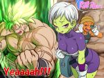 1girl 2boys abs aura biceps broly broly_(dragon_ball_super) cheelai dragon_ball dragon_ball_super dragon_ball_super_broly english fushisha_o gloves green_skin leaning_forward looking_at_viewer multiple_boys open_mouth pectorals scar scouter shirtless short_hair skin_tight smile spiky_hair super_saiyan sweat violet_eyes white_gloves