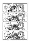 3girls :3 ? animal_ears anteater_ears bare_shoulders blowhole blush bow bowtie comic elbow_gloves embarrassed eyebrows_visible_through_hair fingerless_gloves fur_collar gloves greyscale hair_bow hand_on_another's_head highres kemono_friends kotobuki_(tiny_life) long_sleeves monochrome multiple_girls narwhal_(kemono_friends) nose_blush one-piece_swimsuit otter_ears short_hair silky_anteater_(kemono_friends) sleeveless small-clawed_otter_(kemono_friends) sweatdrop swimsuit translation_request