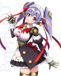 1girl android bangs breasts center_frills closed_mouth commentary_request frills gold_trim hana_(xenoblade) hana_jk hand_up head_tilt highres juliet_sleeves large_breasts lavender_hair long_hair long_sleeves looking_at_viewer maid maid_headdress misu_kasumi neon_trim nintendo orange_eyes puffy_sleeves robot_joints smile solo spoilers spread_fingers standing thigh-highs twintails twisted_torso waving wing_collar xenoblade_(series) xenoblade_2