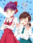 2girls ^_^ blue_background blush brown_hair closed_eyes closed_mouth crossed_arms dress fang gegege_no_kitarou green_neckwear hair_ornament hair_ribbon hairclip inuyama_mana kisaragi_ichigo long_sleeves multiple_girls necktie nekomusume nekomusume_(gegege_no_kitarou_6) open_mouth pointy_ears purple_hair red_dress red_ribbon ribbon short_hair smile translated