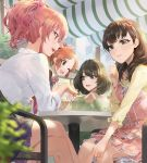 4girls ;d abe_nana bangs blue_eyes bracelet brown_eyes brown_hair cafe chair clothes_around_waist collared_shirt commentary cup dress drinking_glass eyebrows_visible_through_hair frilled_dress frills green_eyes green_hair hairband heterochromia highres idolmaster idolmaster_cinderella_girls jewelry jougasaki_mika long_sleeves maid medium_hair mole mole_under_eye mossi multiple_girls necklace one_eye_closed open_mouth orange_hair outdoors parted_lips pink_hair plaid plaid_skirt pleated_skirt ponytail sakuma_mayu shirt sitting skirt sleeves_folded_up sleeves_past_wrists smile sweater_around_waist table takagaki_kaede upper_teeth white_shirt yellow_eyes