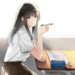 1girl bangs black_eyes black_hair black_skirt day desk elbows_on_table eraser holding holding_pencil indoors long_hair looking_at_viewer notebook original pencil pencil_case school_desk school_uniform shirt short_sleeves sitting skirt smile tamatabe white_shirt window
