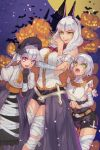 3girls :d :o alternate_costume arm_under_breasts bandage bandaged_arm bandaged_leg bandaged_neck bandages bat_hair_ornament blue_fingernails braid breasts carmilla_(fate/grand_order) commentary_request facial_scar fate/grand_order fate_(series) fingernails hair_ornament halloween hat high_collar highres jack-o'-lantern jack_the_ripper_(fate/apocrypha) juliet_sleeves large_breasts long_sleeves looking_at_viewer medium_hair multiple_girls nail_polish nursery_rhyme_(fate/extra) open_mouth puffy_sleeves sangatsu_(mitsuki358) scar scar_across_eye scar_on_cheek sharp_fingernails shorts silver_hair smile very_long_fingernails violet_eyes waist_cape yellow_eyes
