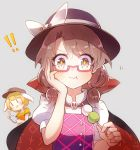 !! +_+ 2girls 60mai :3 :d :t animal_ears bangs black_cape black_hat blonde_hair blush bow brown_eyes brown_hair brown_hat cape cellphone commentary crop_top dango eyebrows_visible_through_hair flat_cap food glasses grey_background hand_on_own_cheek hand_up hat hat_bow high_collar holding holding_food holding_phone looking_at_viewer low_twintails midriff multiple_girls navel open_mouth orange_shirt phone puffy_short_sleeves puffy_sleeves purple_vest rabbit_ears red-framed_eyewear ringo_(touhou) sanshoku_dango shirt short_hair short_sleeves simple_background skull smartphone smile stomach touhou twintails upper_body usami_sumireko v vest violet_detector wagashi white_bow white_shirt |_|