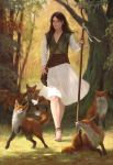1girl animal ankle_bell anklet bag barefoot bell braiding_hair brown_hair closed_eyes dress feet forest fox hairdressing ianperks jewelry nature original realistic satchel shepherd shepherd's_crook staff walking