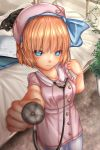 1girl alice_margatroid alternate_costume bangs beret blonde_hair blue_eyes blue_hairband blurry blurry_background bow cat closed_mouth collared_dress commentary_request cowboy_shot day depth_of_field dress eyebrows_visible_through_hair foreshortening futon hairband hat hat_bow highres holding ivy looking_at_viewer outdoors pantyhose pink_dress pink_hat plant short_dress short_hair short_sleeves shounen_(hogehoge) smile solo standing stethoscope sweatdrop touhou white_legwear