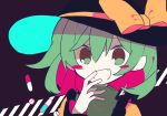 :d black_hat blouse blush_stickers bow fang flat_color frilled_sleeves frills green_eyes green_hair hand_on_own_face hat hat_bow hat_ribbon komeiji_koishi laughing looking_at_viewer mamimu_(ko_cha_22) open_mouth pill ribbon smile subterranean_animism touhou wide_sleeves yellow_blouse