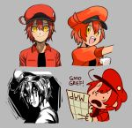 1girl ae-3803 black_eyes charles_schulz_(style) creatures_(company) danganronpa game_freak hataraku_saibou itou_junji_(style) komatsuzaki_rui_(style) map nintendo oomura_yuusuke_(style) parody peanuts pokemon red_blood_cell_(hataraku_saibou) sorrysap style_parody white_blood_cell_(hataraku_saibou) yellow_eyes