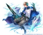 1boy ;| belt black_footwear black_gloves blue_cape boots brown_hair cape chains company_name elbow_gloves fuji_minako full_body gloves grey_pants headset holding holding_sword holding_weapon kai-ri-sei_million_arthur knee_boots male_focus million_arthur_(series) official_art pants shirt solo sword weapon white_shirt